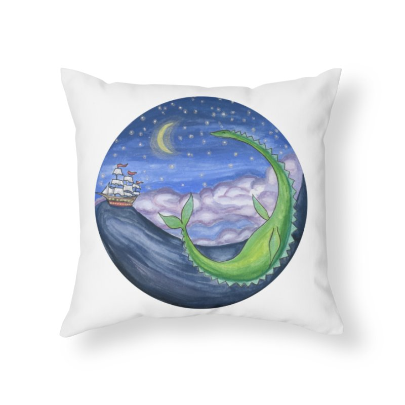 Sea Monster Night Home Throw Pillow by FoxandCrow's Artist Shop
