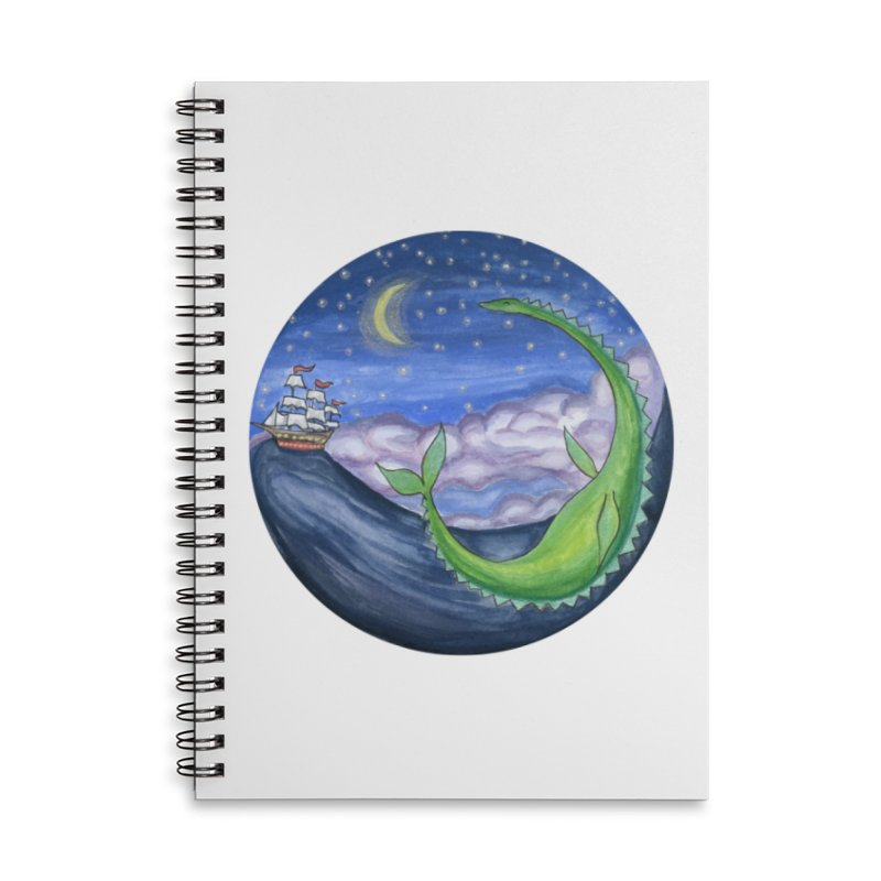 Sea Monster Night Accessories Lined Spiral Notebook by FoxandCrow's Artist Shop