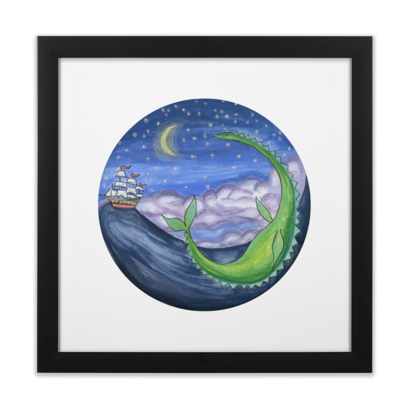 Sea Monster Night Home Framed Fine Art Print by FoxandCrow's Artist Shop