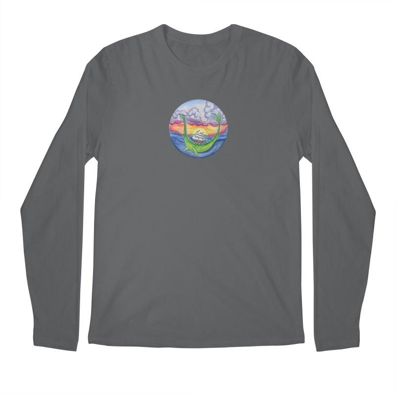 Sea Monster Sunset Men's Longsleeve T-Shirt by FoxandCrow's Artist Shop