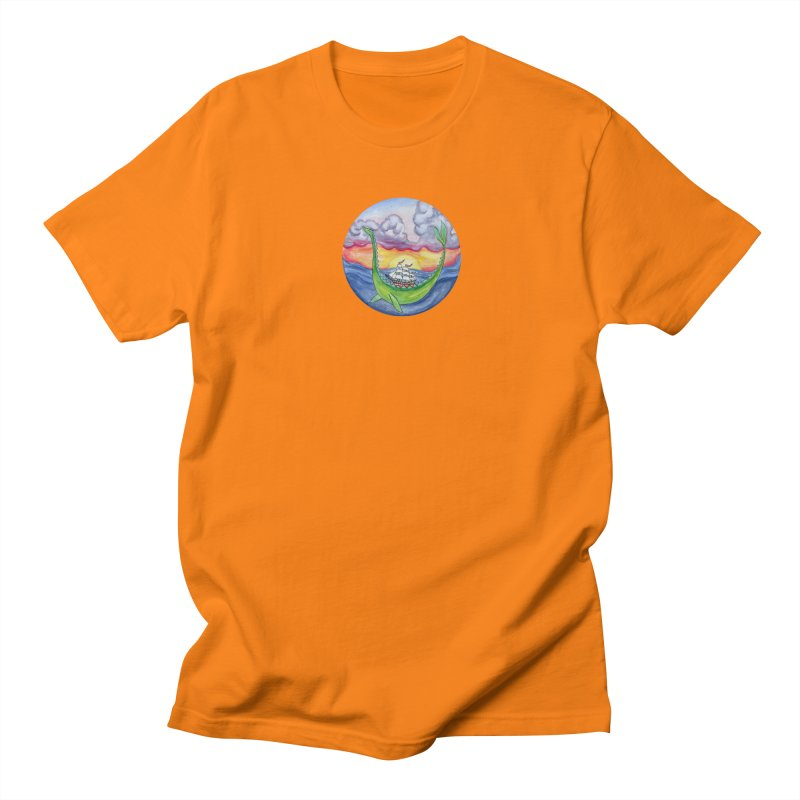 Sea Monster Sunset Men's Regular T-Shirt by FoxandCrow's Artist Shop
