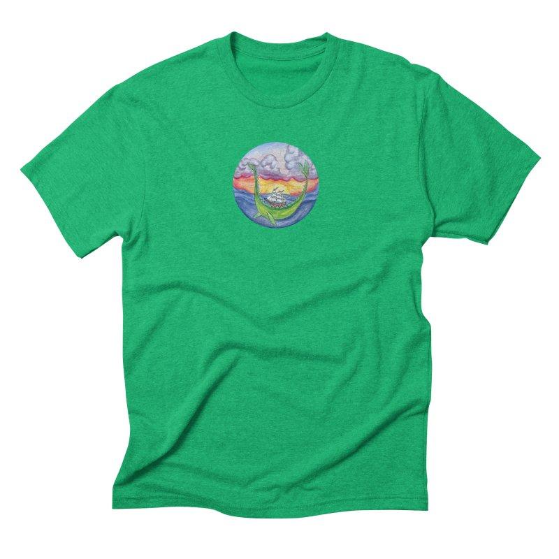 Sea Monster Sunset Men's Triblend T-Shirt by FoxandCrow's Artist Shop
