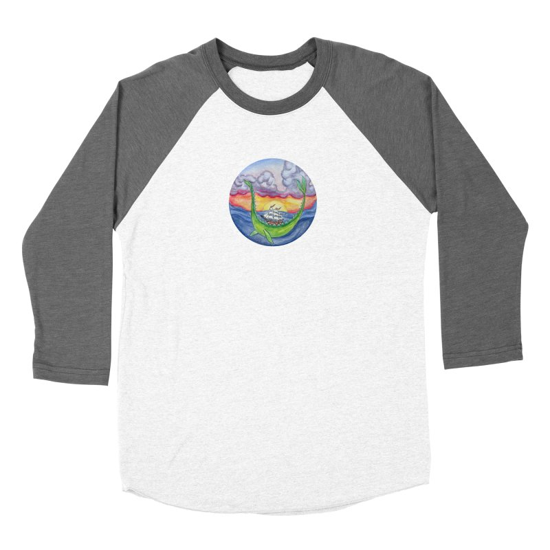 Sea Monster Sunset Women's Baseball Triblend Longsleeve T-Shirt by FoxandCrow's Artist Shop