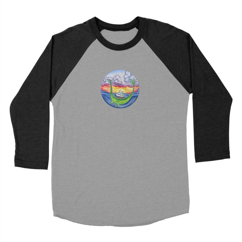 Sea Monster Sunset Men's Baseball Triblend Longsleeve T-Shirt by FoxandCrow's Artist Shop