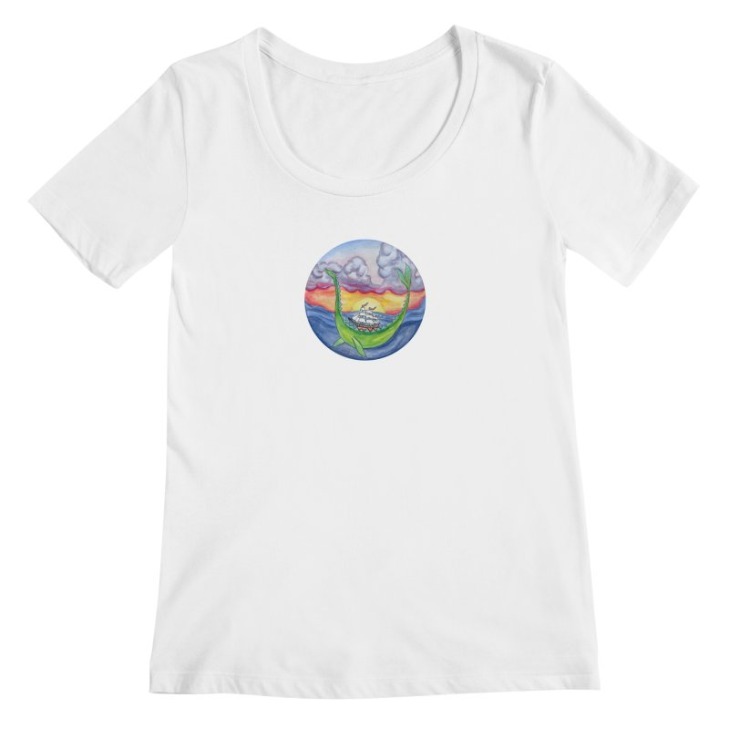 Sea Monster Sunset Women's Regular Scoop Neck by FoxandCrow's Artist Shop