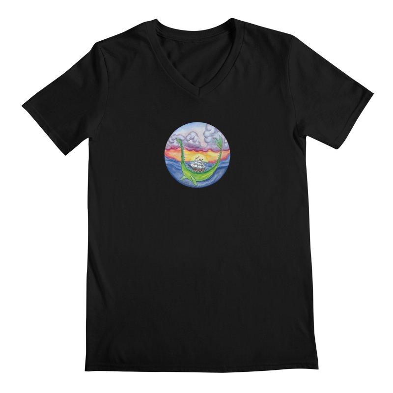 Sea Monster Sunset Men's Regular V-Neck by FoxandCrow's Artist Shop