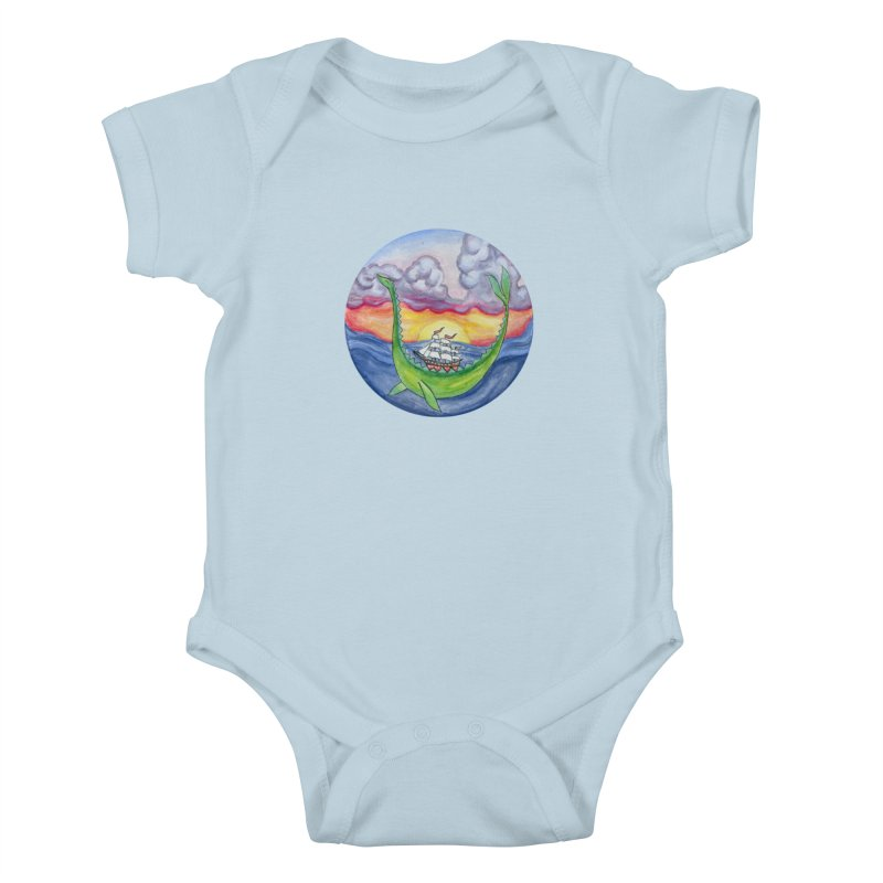 Sea Monster Sunset in Kids Baby Bodysuit Baby Blue by FoxandCrow's Artist Shop