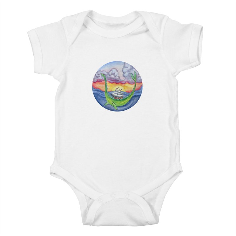 Sea Monster Sunset Kids Baby Bodysuit by FoxandCrow's Artist Shop