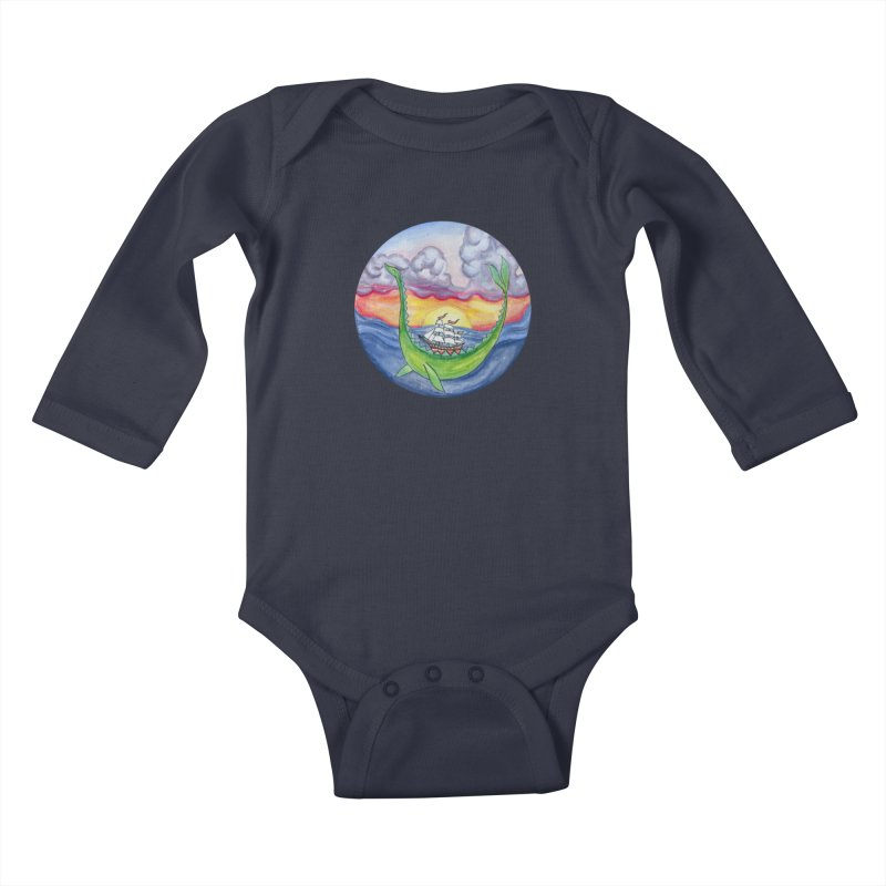 Sea Monster Sunset Kids Baby Longsleeve Bodysuit by FoxandCrow's Artist Shop