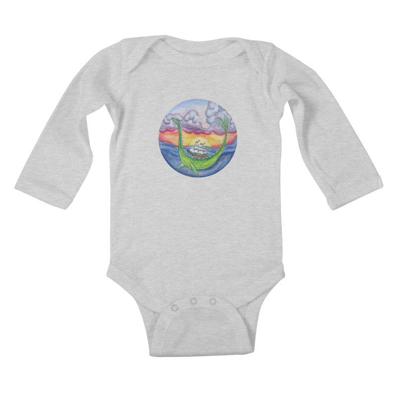 Sea Monster Sunset Kids Baby Longsleeve Bodysuit by FoxandCrow's Artist Shop