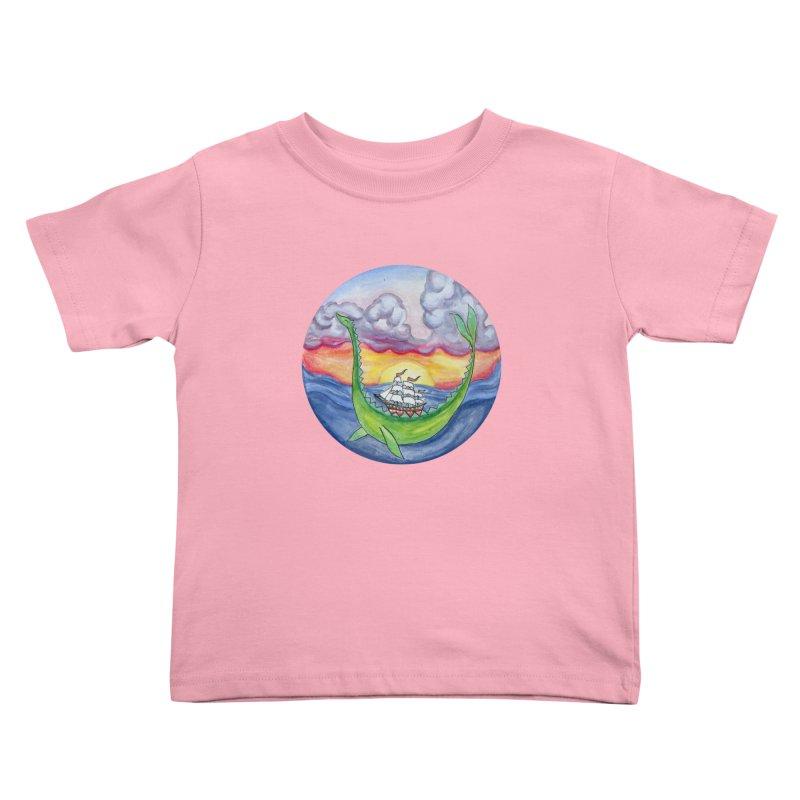 Sea Monster Sunset Kids Toddler T-Shirt by FoxandCrow's Artist Shop