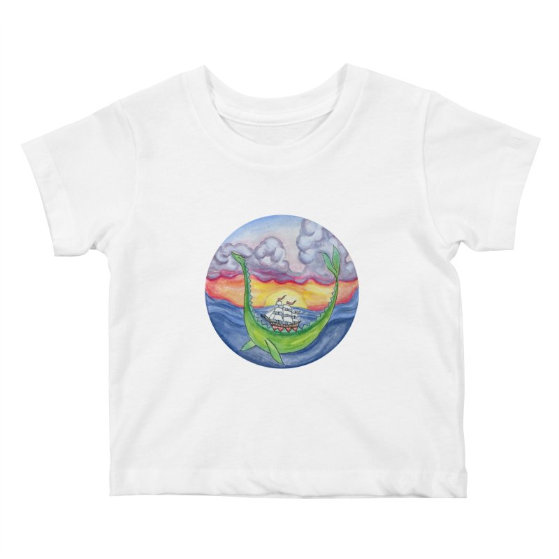 Sea Monster Sunset Kids Baby T-Shirt by FoxandCrow's Artist Shop