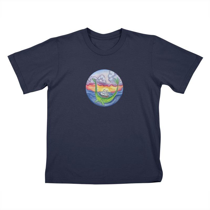 Sea Monster Sunset Kids T-Shirt by FoxandCrow's Artist Shop