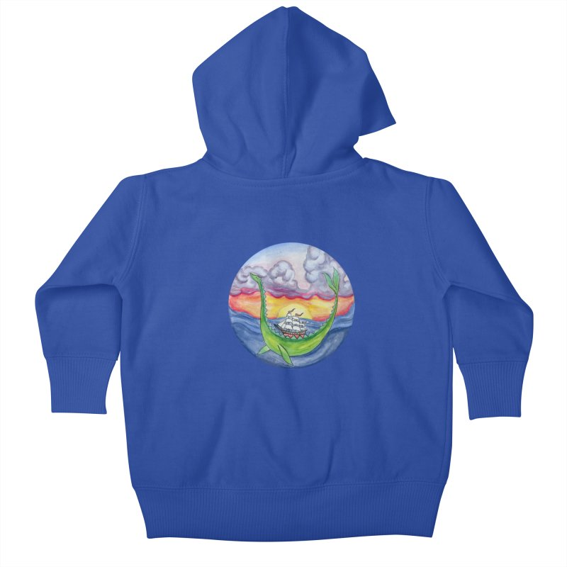 Sea Monster Sunset Kids Baby Zip-Up Hoody by FoxandCrow's Artist Shop