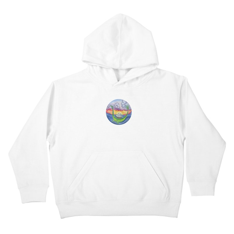 Sea Monster Sunset Kids Pullover Hoody by FoxandCrow's Artist Shop