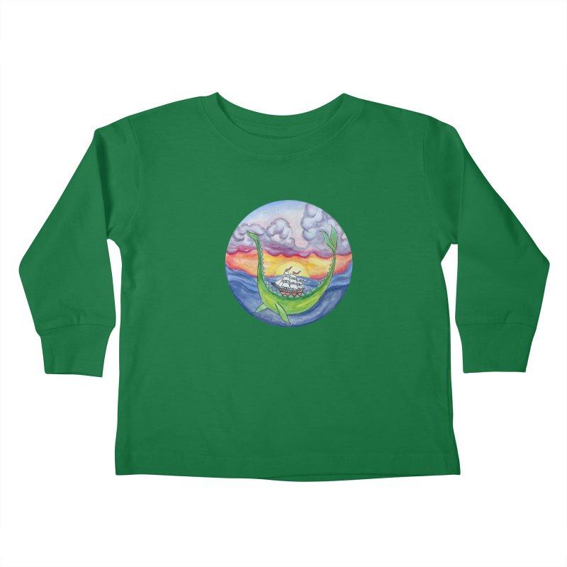 Sea Monster Sunset Kids Toddler Longsleeve T-Shirt by FoxandCrow's Artist Shop