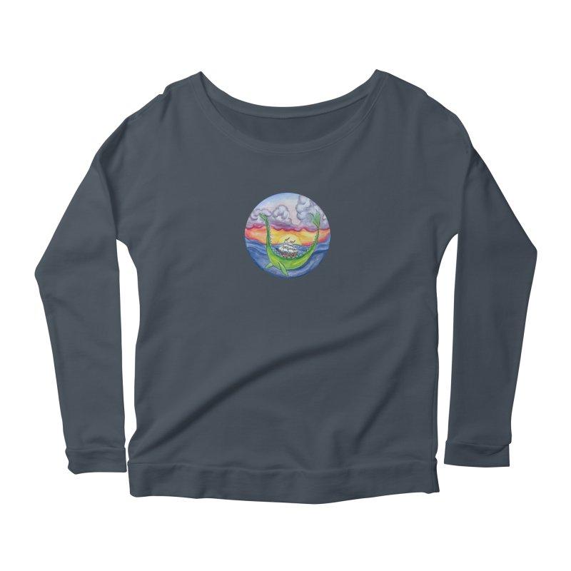 Sea Monster Sunset Women's Scoop Neck Longsleeve T-Shirt by FoxandCrow's Artist Shop