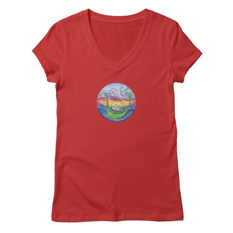 Sea Monster Sunset Women's Regular V-Neck by FoxandCrow's Artist Shop