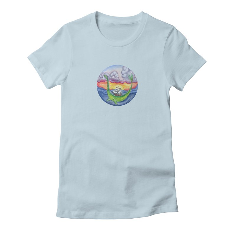 Sea Monster Sunset Women's Fitted T-Shirt by FoxandCrow's Artist Shop
