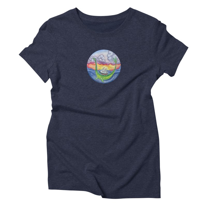 Sea Monster Sunset Women's Triblend T-Shirt by FoxandCrow's Artist Shop