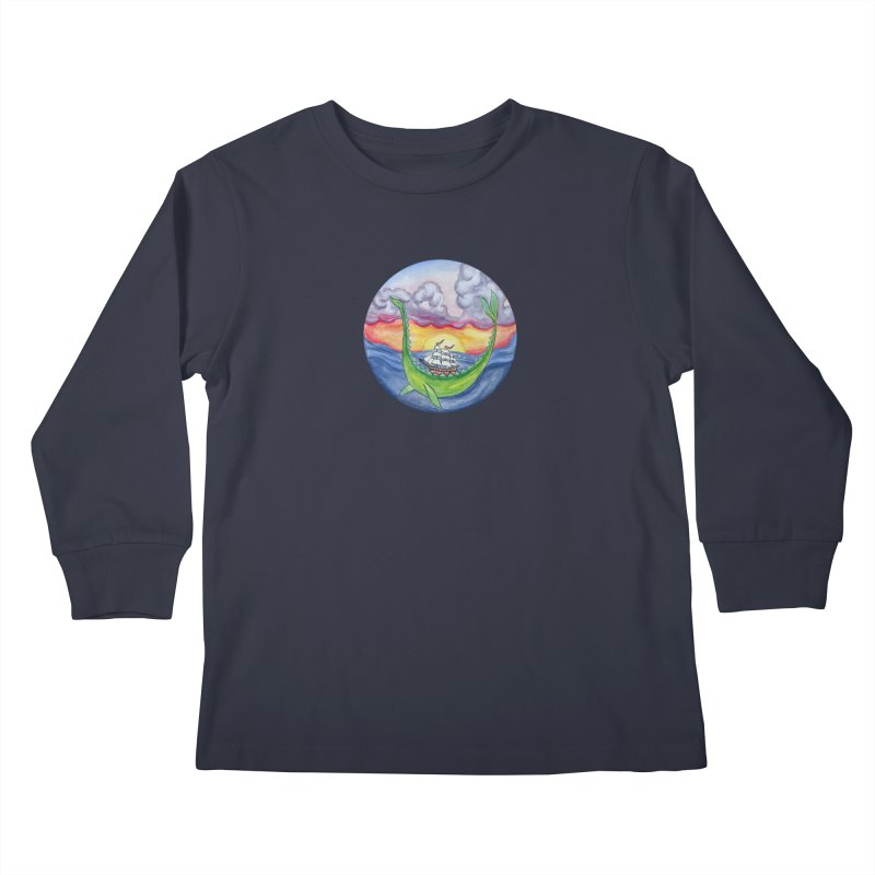 Sea Monster Sunset Kids Longsleeve T-Shirt by FoxandCrow's Artist Shop