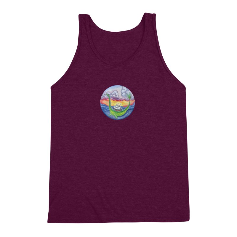 Sea Monster Sunset Men's Triblend Tank by FoxandCrow's Artist Shop