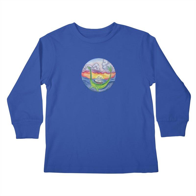 Sea Monster Sunset Kids Longsleeve T-Shirt by FoxandCrow's Artist Shop