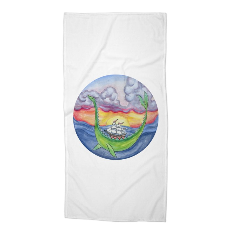 Sea Monster Sunset Accessories Beach Towel by FoxandCrow's Artist Shop