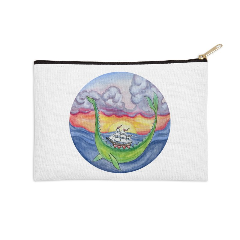 Sea Monster Sunset Accessories Zip Pouch by FoxandCrow's Artist Shop