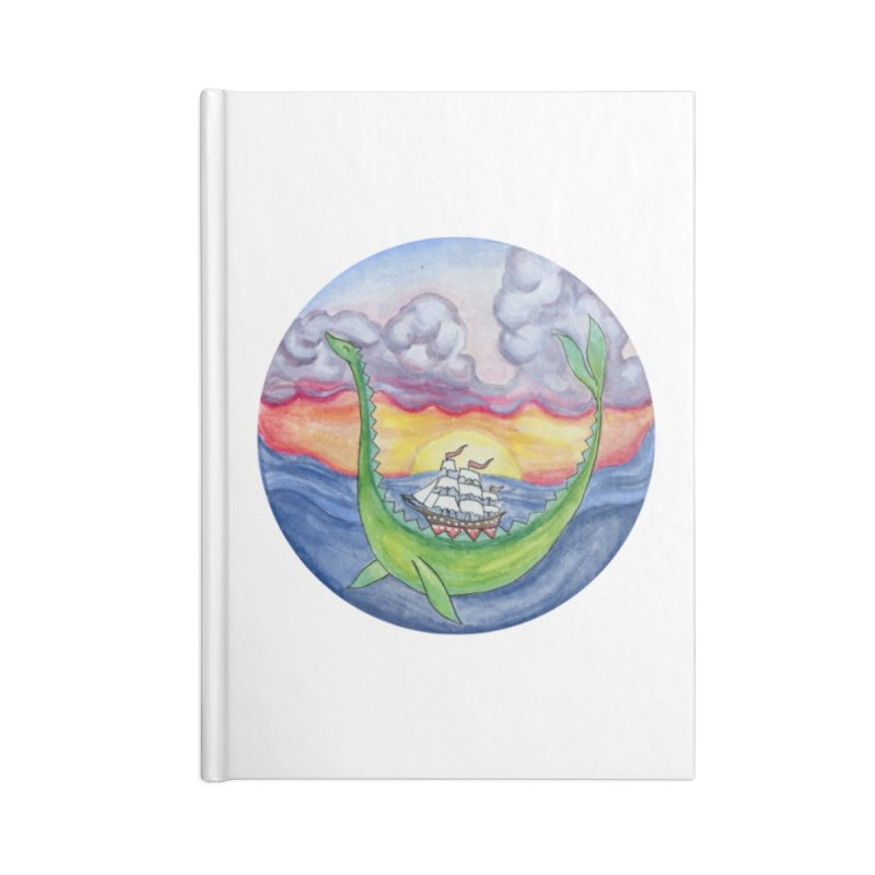 Sea Monster Sunset Accessories Lined Journal Notebook by FoxandCrow's Artist Shop