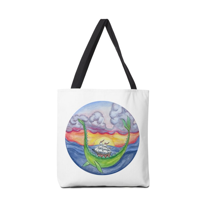 Sea Monster Sunset Accessories Tote Bag Bag by FoxandCrow's Artist Shop