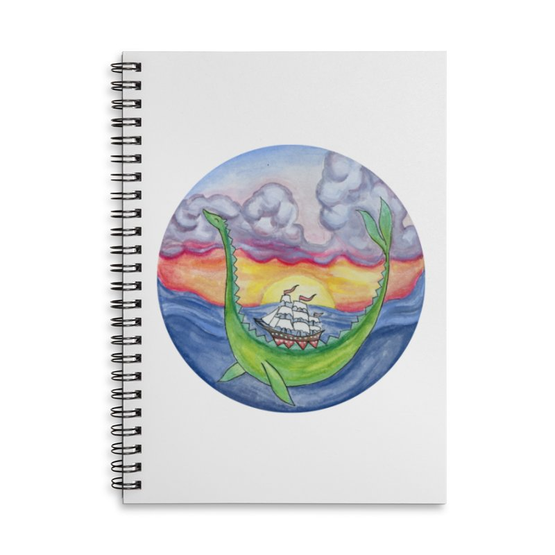 Sea Monster Sunset Accessories Lined Spiral Notebook by FoxandCrow's Artist Shop