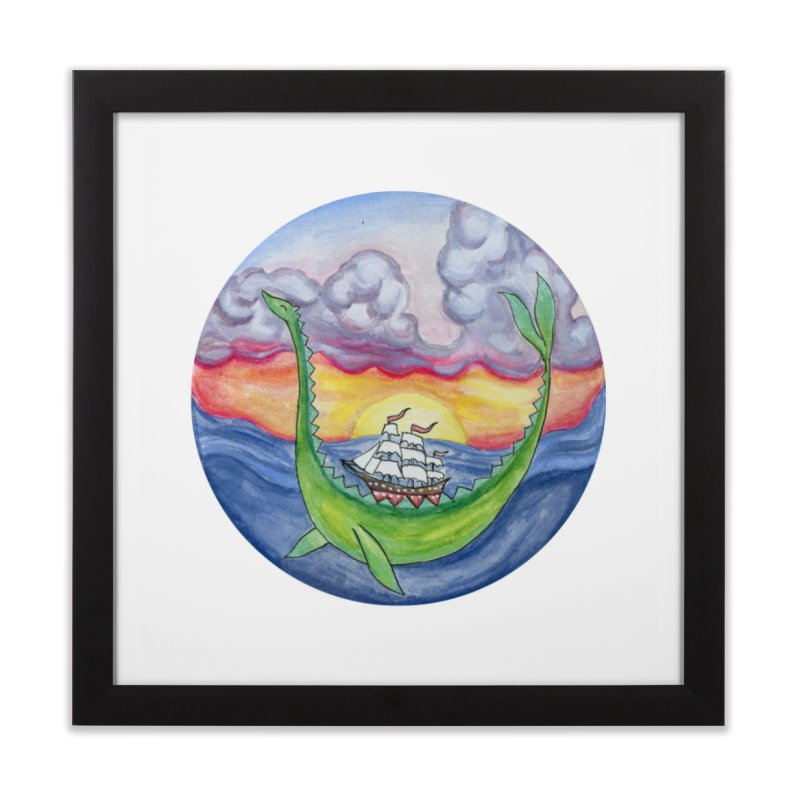 Sea Monster Sunset Home Framed Fine Art Print by FoxandCrow's Artist Shop