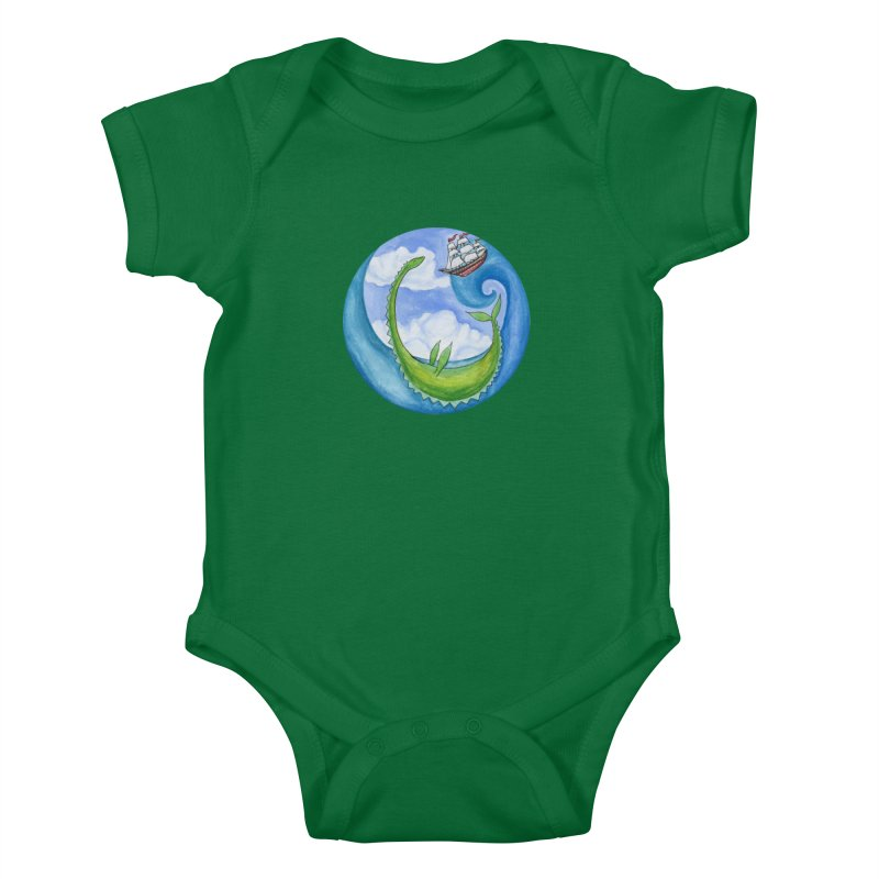 Sea Monster Play Time Kids Baby Bodysuit by FoxandCrow's Artist Shop
