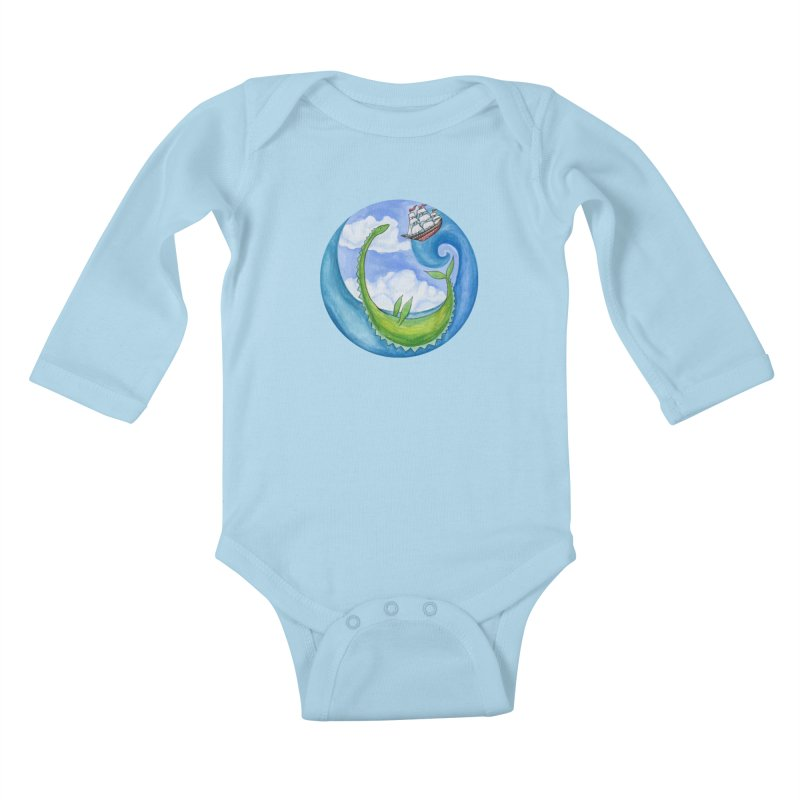 Sea Monster Play Time Kids Baby Longsleeve Bodysuit by FoxandCrow's Artist Shop