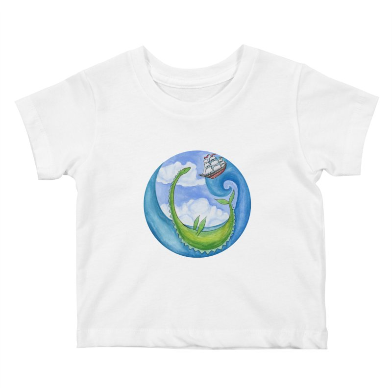 Sea Monster Play Time Kids Baby T-Shirt by FoxandCrow's Artist Shop