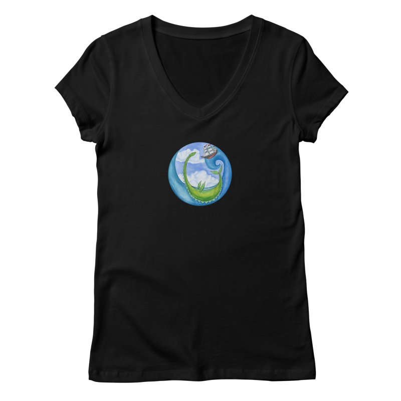 Sea Monster Play Time Women's V-Neck by FoxandCrow's Artist Shop