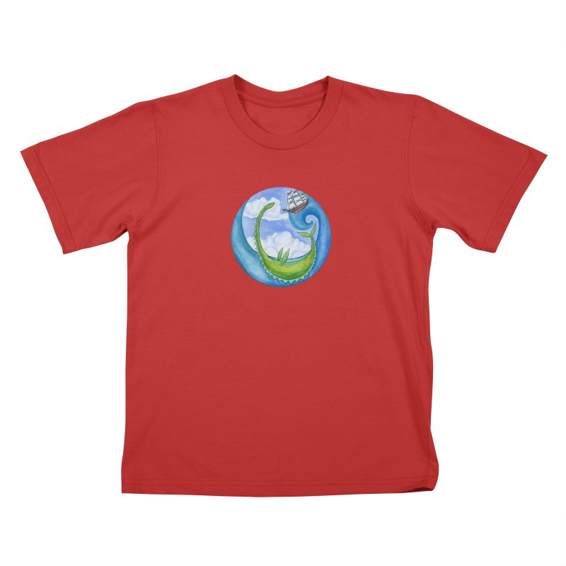 Sea Monster Play Time Kids T-Shirt by FoxandCrow's Artist Shop