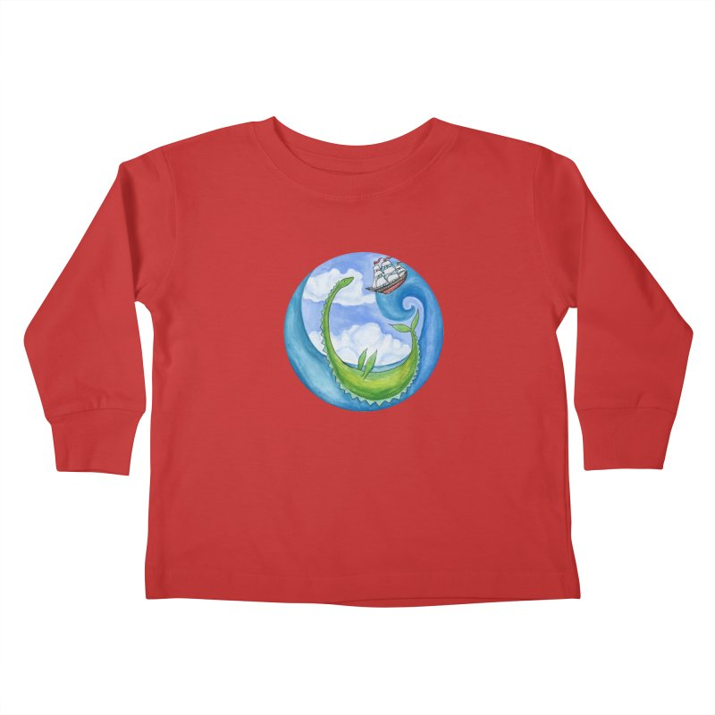 Sea Monster Play Time Kids Toddler Longsleeve T-Shirt by FoxandCrow's Artist Shop