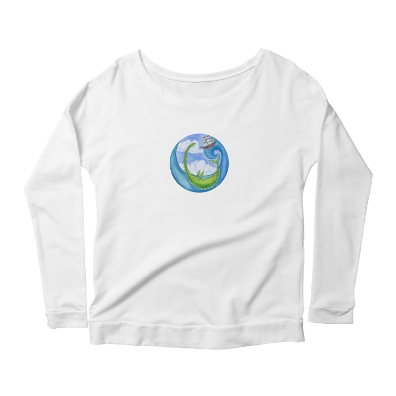 Sea Monster Play Time Women's Scoop Neck Longsleeve T-Shirt by FoxandCrow's Artist Shop