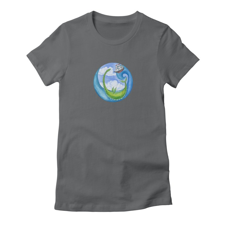 Sea Monster Play Time Women's Fitted T-Shirt by FoxandCrow's Artist Shop