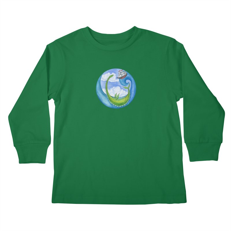 Sea Monster Play Time Kids Longsleeve T-Shirt by FoxandCrow's Artist Shop