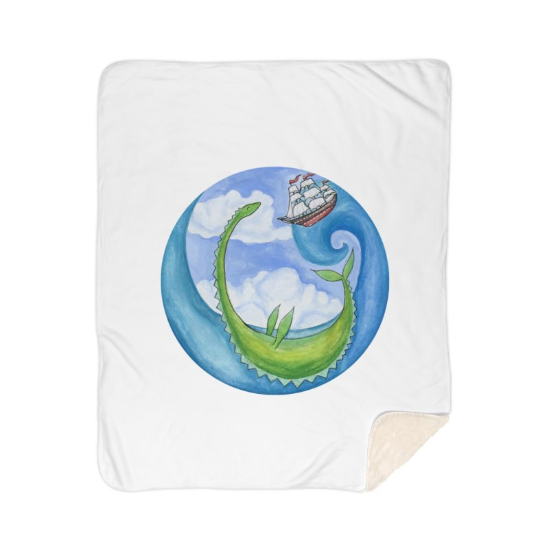 Sea Monster Play Time Home Sherpa Blanket Blanket by FoxandCrow's Artist Shop