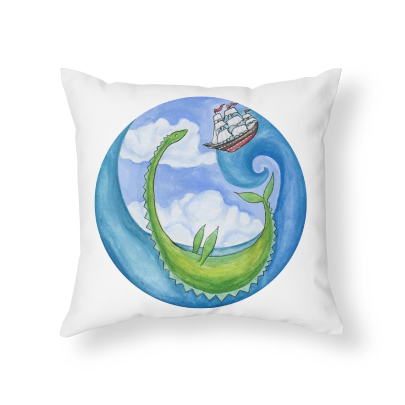 Sea Monster Play Time Home Throw Pillow by FoxandCrow's Artist Shop