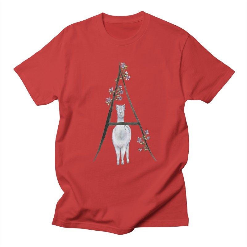 A is for Alpaca and Azalea Men's Regular T-Shirt by FoxandCrow's Artist Shop