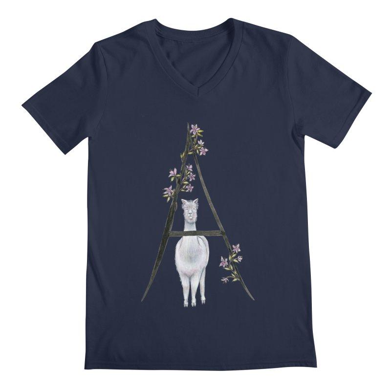 A is for Alpaca and Azalea Men's Regular V-Neck by FoxandCrow's Artist Shop