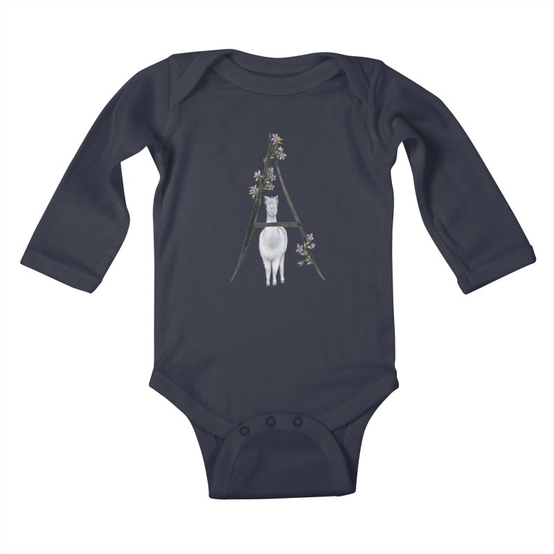 A is for Alpaca and Azalea Kids Baby Longsleeve Bodysuit by FoxandCrow's Artist Shop