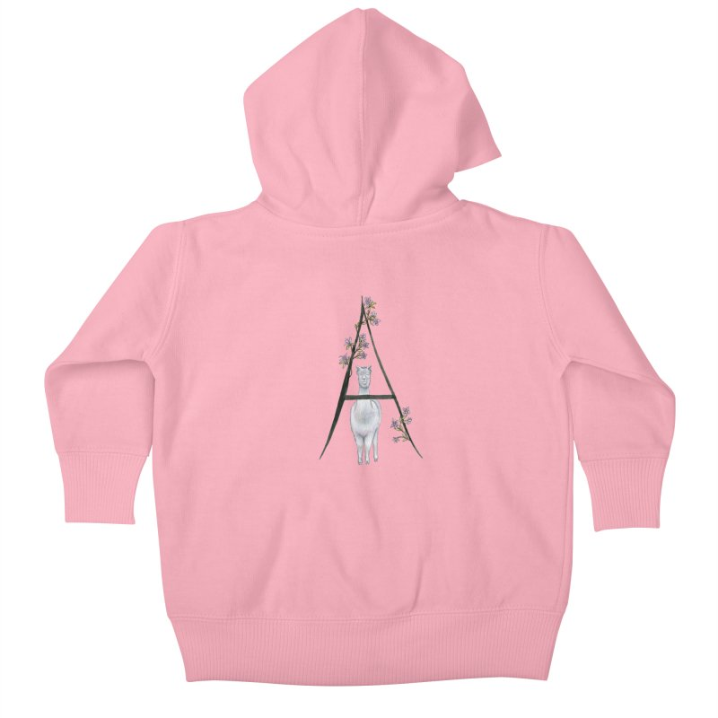 A is for Alpaca and Azalea Kids Baby Zip-Up Hoody by FoxandCrow's Artist Shop