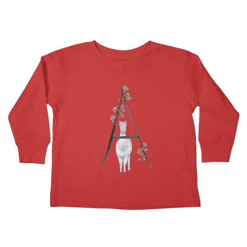 A is for Alpaca and Azalea Kids Toddler Longsleeve T-Shirt by FoxandCrow's Artist Shop