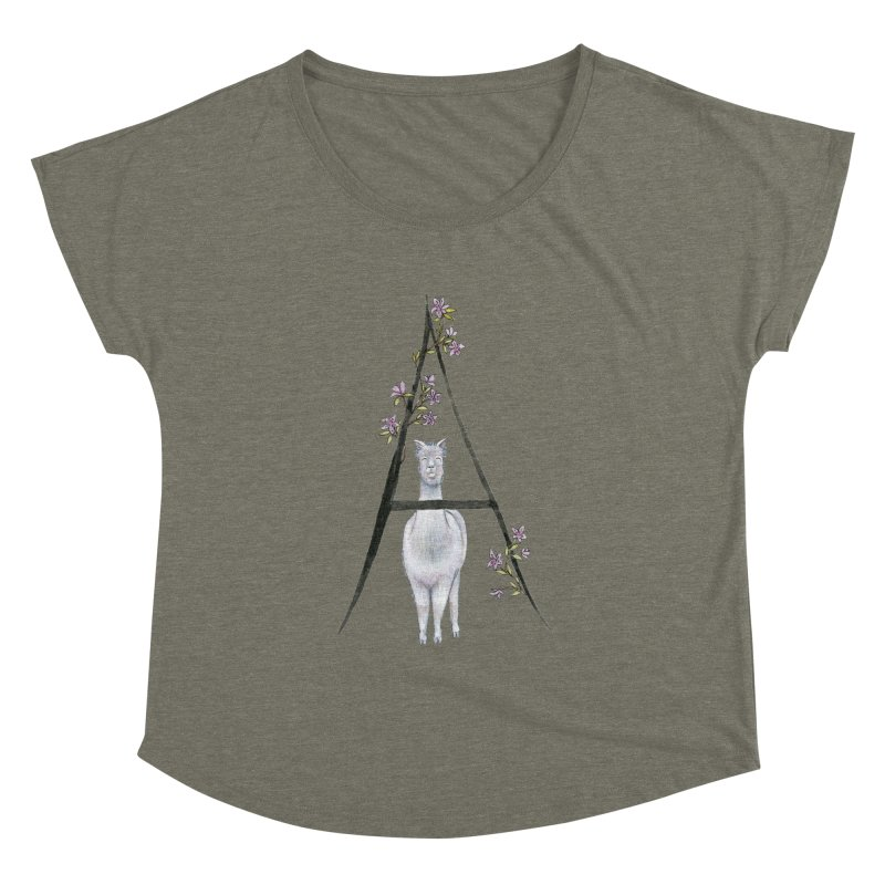 A is for Alpaca and Azalea Women's Dolman Scoop Neck by FoxandCrow's Artist Shop